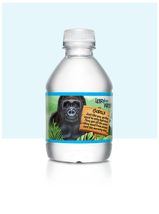 8 oz mini nestle pure life water bottle with gorilla label