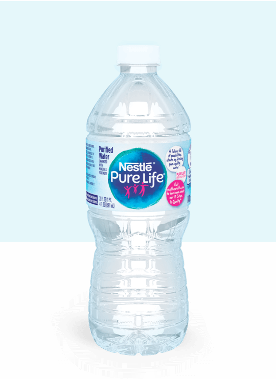 20 oz bottle of nestle pure life purified water